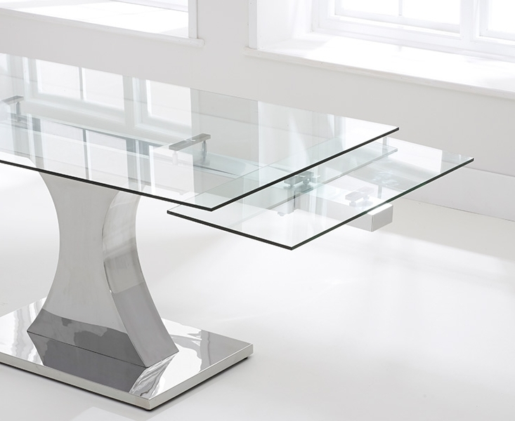 Fashionable Buy Mark Harris Amber Glass Dining Table – 160Cm Rectangular Inside Extending Glass Dining Tables (View 9 of 20)