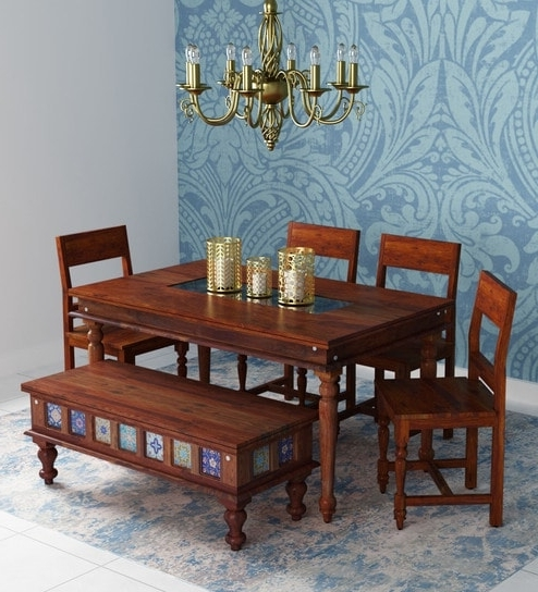 Fashionable Buy Siramika Solid Wood Six Seater Dining Set With Bench In Honey Inside Six Seater Dining Tables (View 12 of 20)