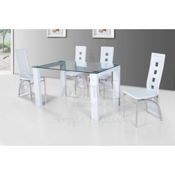 Fashionable Cheap Birlea Finchley Glass And White High Glossdining Table Set For Inside Glass And White Gloss Dining Tables (View 16 of 20)