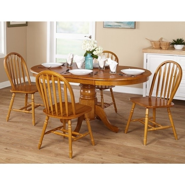 Fashionable Cheap Oak Dining Sets With Regard To Shop Simple Living Farmhouse 5 Or 7 Piece Oak Dining Set – Free (View 8 of 20)