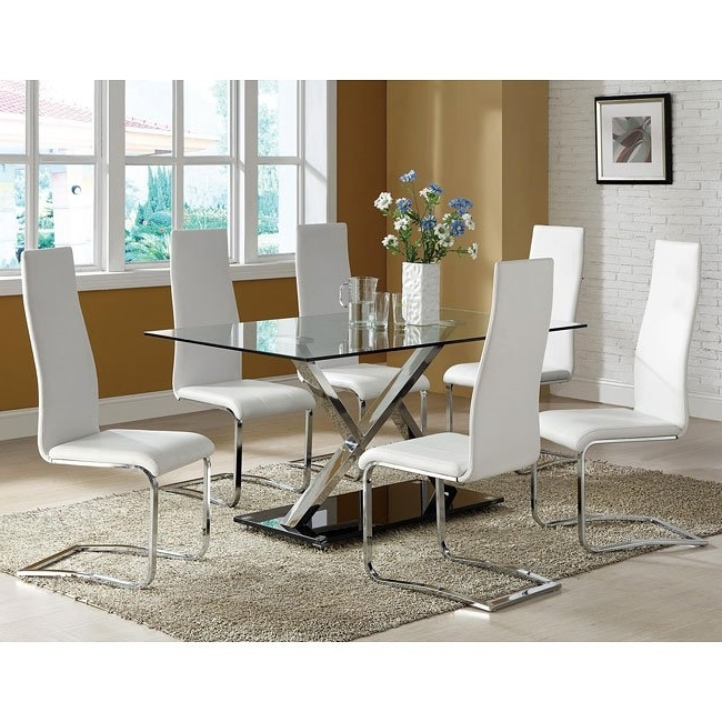Fashionable Chrome Dining Room Chairs For Modern Chrome Dining Room Set W/ White Chairs Coaster Furniture (View 4 of 20)