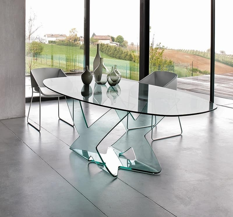 Fashionable Curved Glass Dining Tables With Dining Table In Curved Glass, For Modern Living Room (View 9 of 20)
