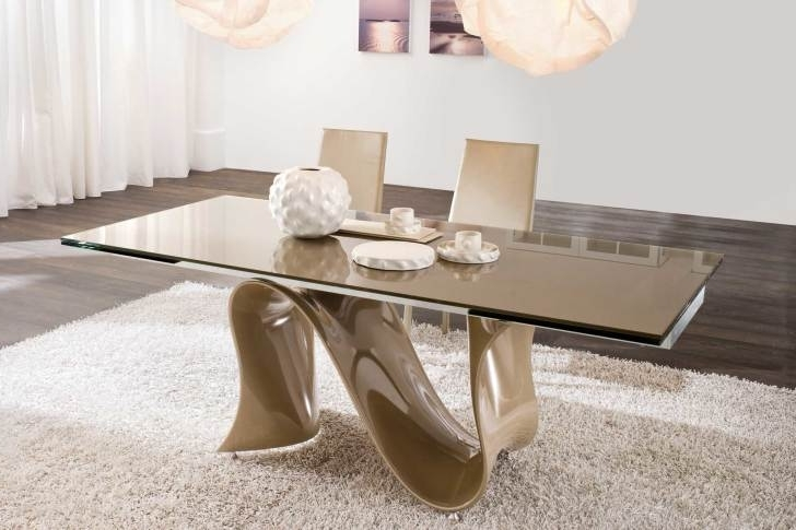 Fashionable Curved Glass Dining Tables With Rectangle Brown Glass Dining Table With Brown Acrylic Curved Base On (View 10 of 20)