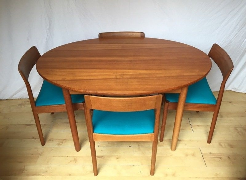 Fashionable Danish Norgaards Teak Vintage Mid Century Oval Round Extending Within Oval Extending Dining Tables And Chairs (View 17 of 20)