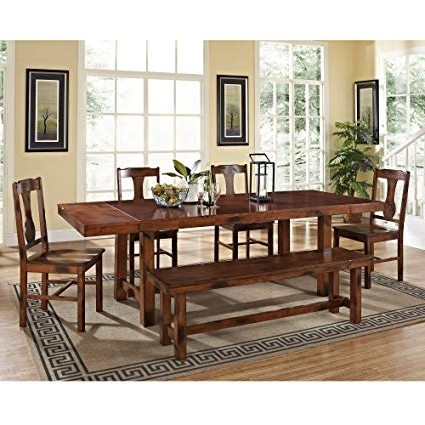 Fashionable Dark Solid Wood Dining Tables Inside Amazon – 6 Piece Solid Wood Dining Set, Dark Oak – Table & Chair (View 13 of 20)