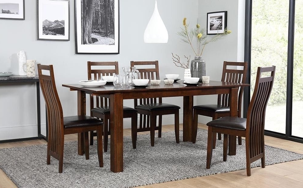 Fashionable Dark Wood Extending Dining Table With 6 Chairs (View 7 of 20)