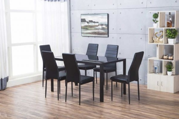 Fashionable Designer Rectangle Black Glass Dining Table & 6 Chairs Set Within Dining Table Sets With 6 Chairs (View 16 of 20)