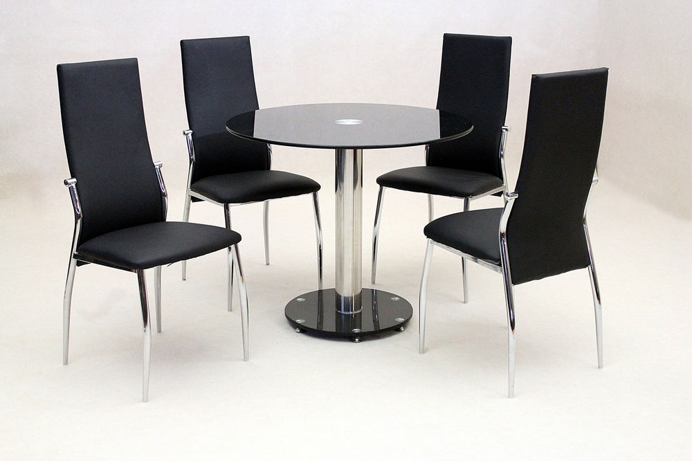 Fashionable Dining Kitchen Table Set Black Glass Round Top Chrome Four Black In Round Black Glass Dining Tables And Chairs (View 18 of 20)