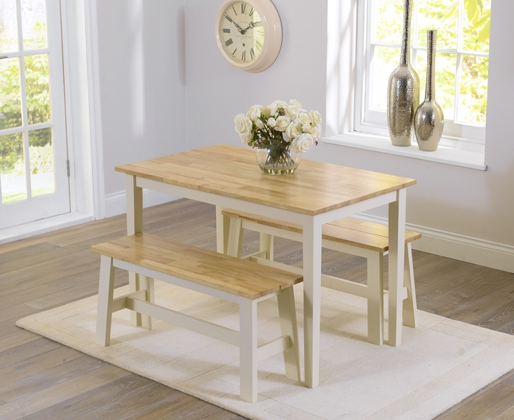 Fashionable Dining Tables And 2 Benches In Chiltern 115Cm Oak And Cream Dining Table And Benches (View 11 of 20)
