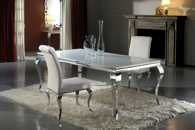 Fashionable Dining Tables London In Modern Louis Inspired White Glass Dining Table And Chair Set (View 7 of 20)