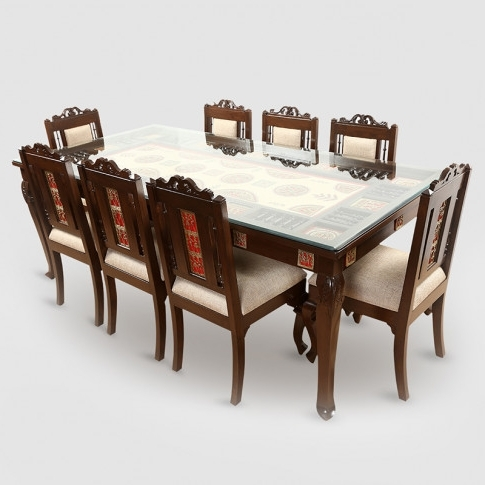 Fashionable Dining Tables With 8 Seater Intended For Teak Wood 8 Seater Dining Table In Warli & Dhokra Work (View 6 of 20)