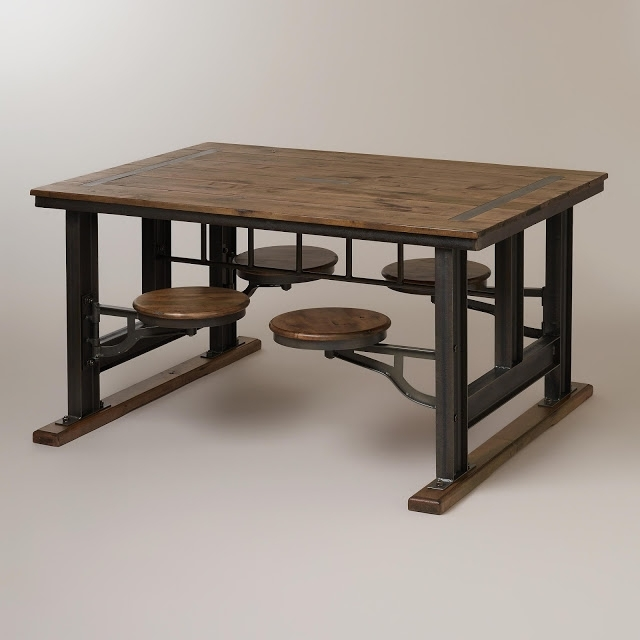 Fashionable Dining Tables With Attached Stools With Nuevo V45 Reclaimed Wood Top Dining Table With Attached Stools (View 8 of 20)