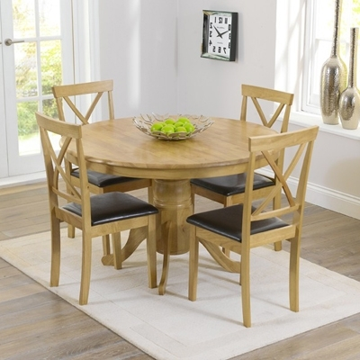 Fashionable Elson Round Oak 4 Seater Dining Set – Robson Furniture With Round Oak Dining Tables And Chairs (View 2 of 20)