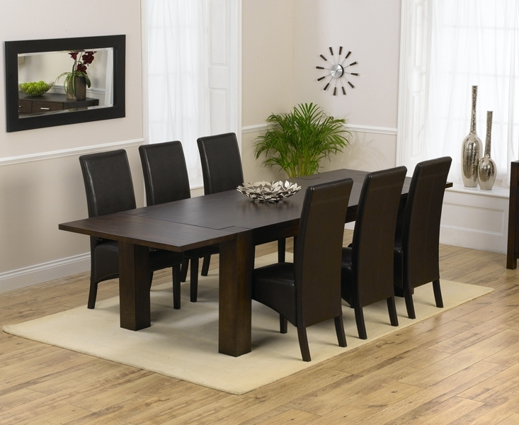 Fashionable Extending Dining Tables And 8 Chairs In Madrid 200Cm Dark Solid Oak Extending Dining Table With Dakota Chairs (View 9 of 20)