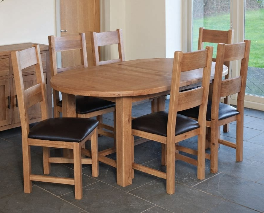 Fashionable Extending Dining Tables With 6 Chairs Inside Buy Hampshire Oak Oval Extending Dining Set With 6 Padded Seat (View 11 of 20)