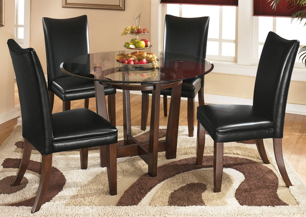 Fashionable Furniture Exchange Charell Round Dining Table W/4 Black Side Chairs Inside Craftsman 5 Piece Round Dining Sets With Uph Side Chairs (View 4 of 20)
