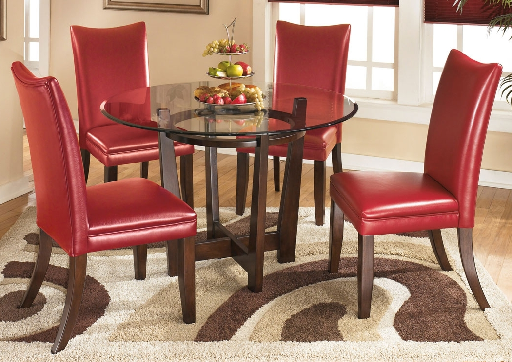 Fashionable Furniture Exchange Charell Round Dining Table W/4 Red Side Chairs In Craftsman 5 Piece Round Dining Sets With Uph Side Chairs (View 5 of 20)
