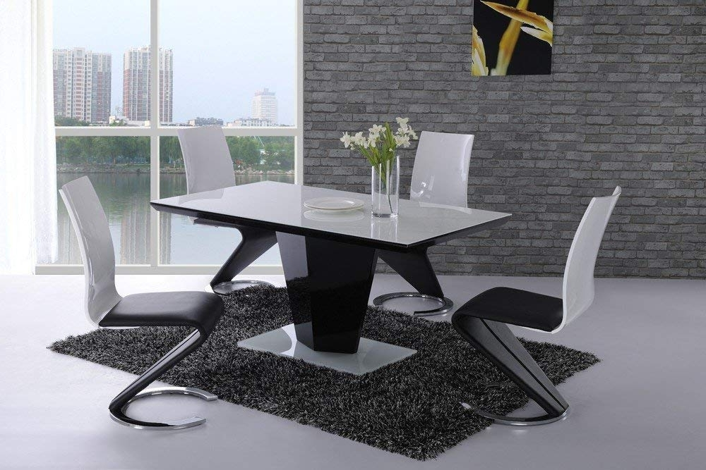 Fashionable Furniture Mill Outlet Leona White Glass Top Black High Gloss Dining Within Black Glass Extending Dining Tables 6 Chairs (View 8 of 20)