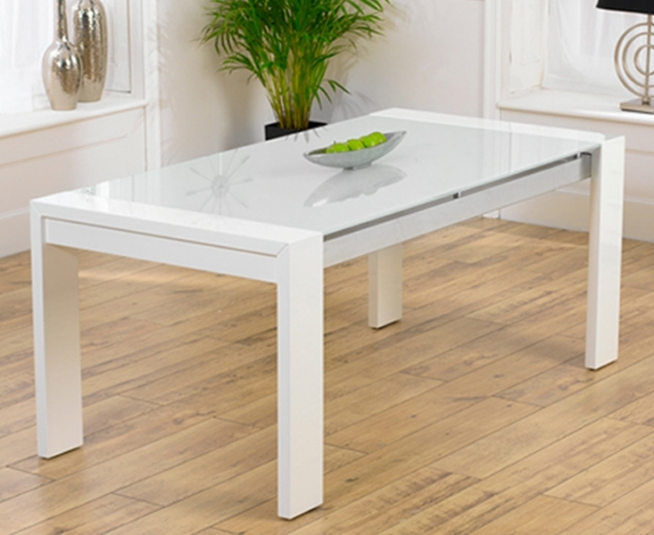 Fashionable Glass And White Gloss Dining Tables Pertaining To Ex Display Cannes 180cm High Gloss White Dining Table (View 17 of 20)