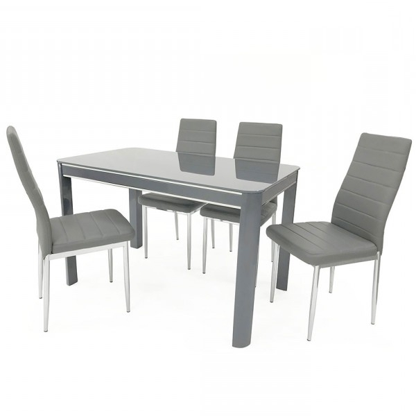 Fashionable Grey Gloss Dining Tables Inside Sweet Slim 70 Cm Wide Narrow Grey Gloss Dining Table (View 4 of 20)
