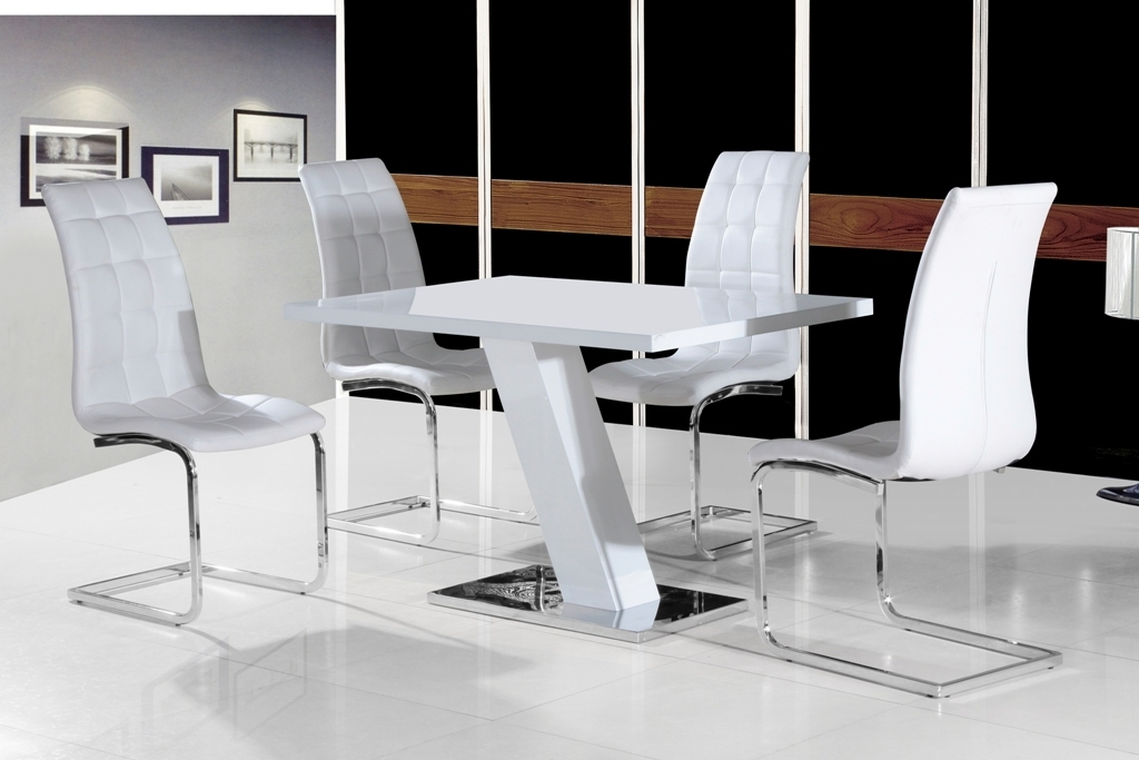 Fashionable High Gloss Dining Furniture In Grazia White High Gloss Contemporary Designer 120 Cm Compact Dining (View 12 of 20)