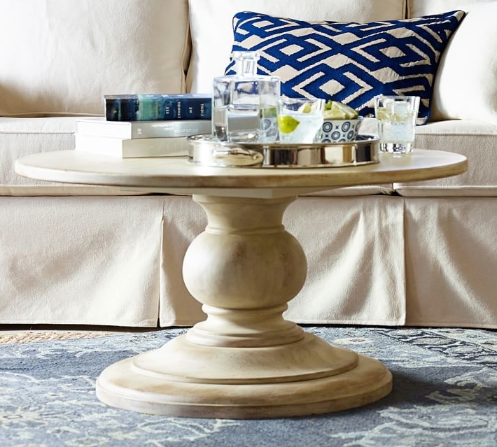 Fashionable Impressive Dawson Round Pedestal Coffee Table Pottery Barn Inside With Dawson Dining Tables (View 15 of 20)