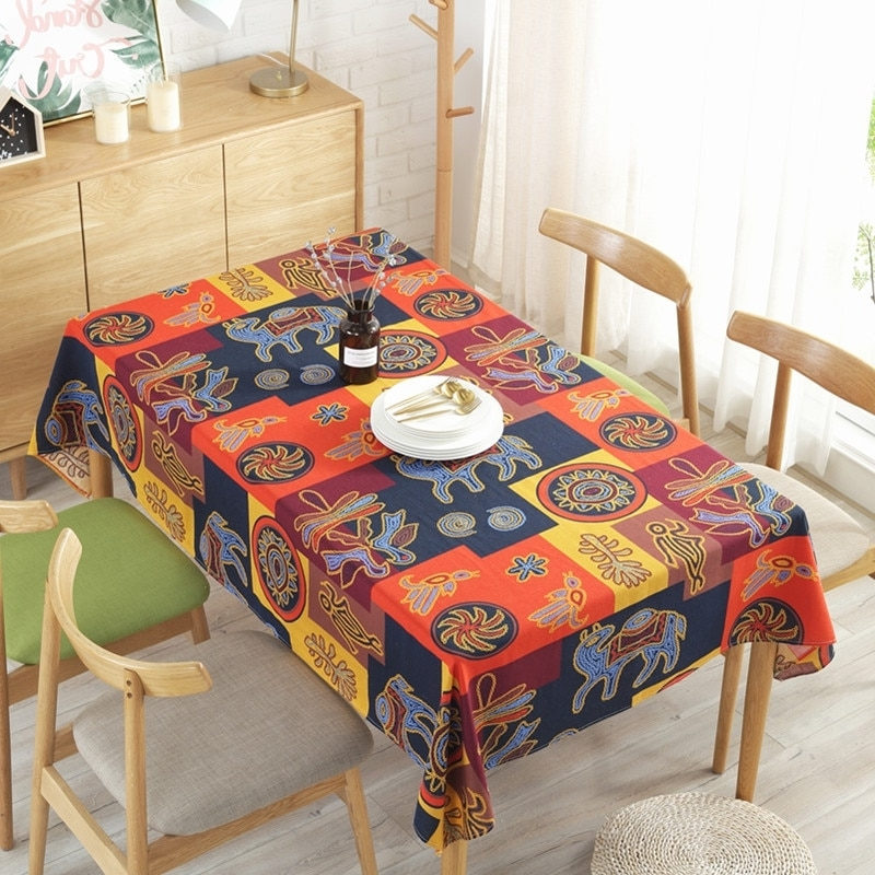 Fashionable Indian Style Dining Tables Inside Esquire New Indian Style Cotton Linen Tablecloth Cafe Bar Decoration (View 4 of 20)