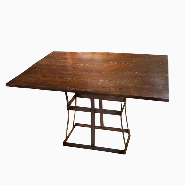 Fashionable Iron And Wood Dining Tables Regarding Buy A Handmade Reclaimed Wood Dining Table With Contemporary Metal (View 4 of 20)