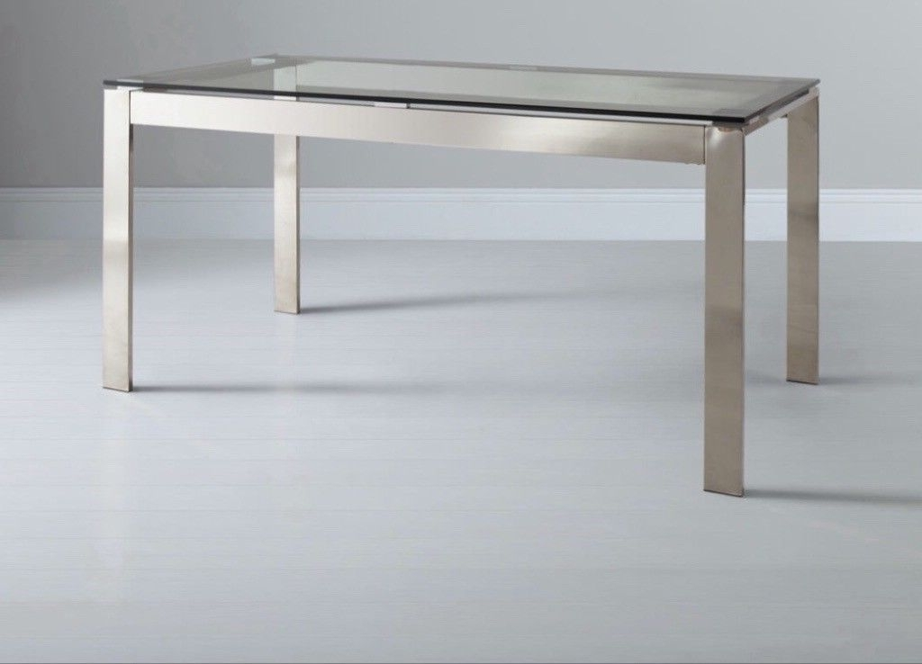 Fashionable John Lewis Glass & Stainless Steel Dining Table, Seats  (View 2 of 20)