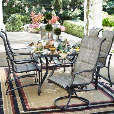 Fashionable Market 6 Piece Dining Sets With Host And Side Chairs Regarding Patio Dining Sets – Patio Dining Furniture – The Home Depot (View 5 of 20)