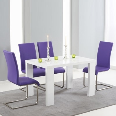Fashionable Metro High Gloss White 150Cm Dining Table With 6 Milan Purple Chairs Inside Dining Tables And Purple Chairs (View 8 of 20)