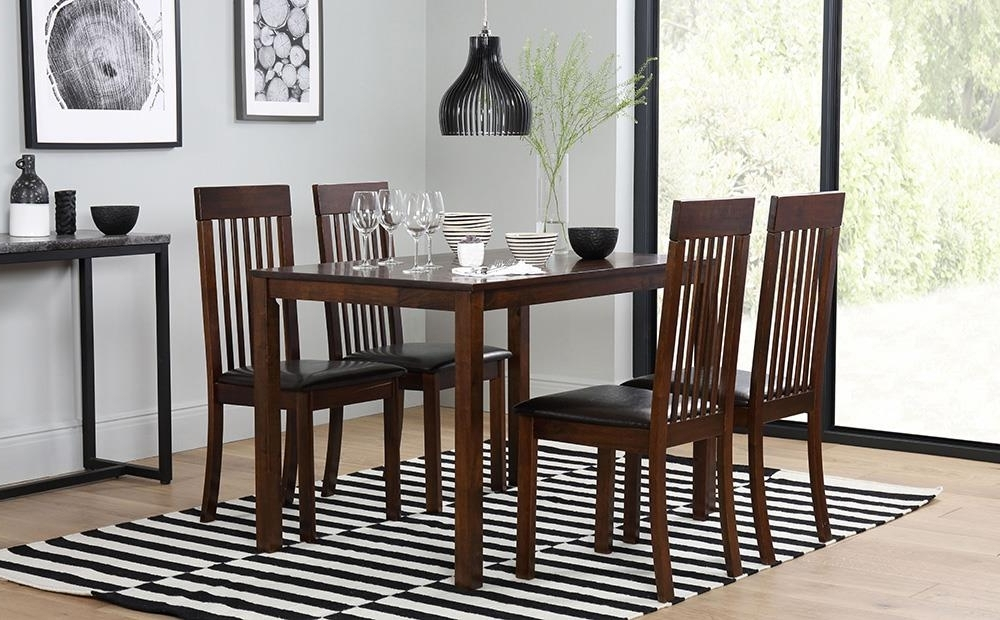 Fashionable Milton Dark Wood Dining Table And 4 Chairs Set (Oxford Dark) Only In Dark Wood Dining Tables (View 9 of 20)