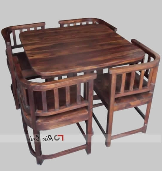 Fashionable Modern Stylish Wooden Dining Table Set With 4 Chairs, Sheesham Wood For Sheesham Dining Tables And 4 Chairs (View 18 of 20)