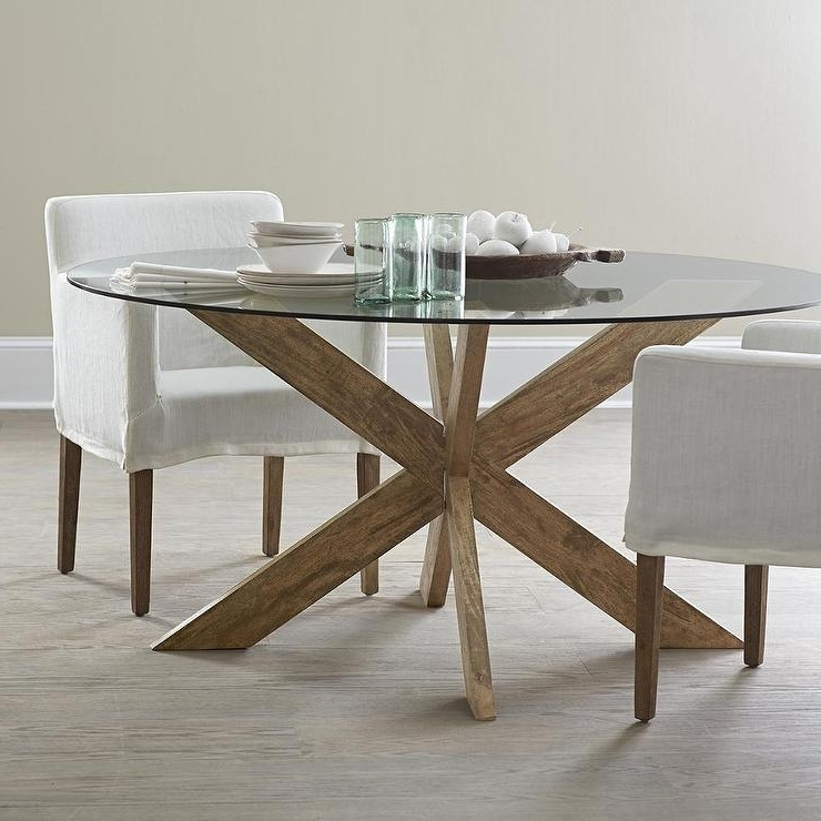 Fashionable Modern X Base Dining Table In Brown Inside Glass Dining Tables With Wooden Legs (View 9 of 20)