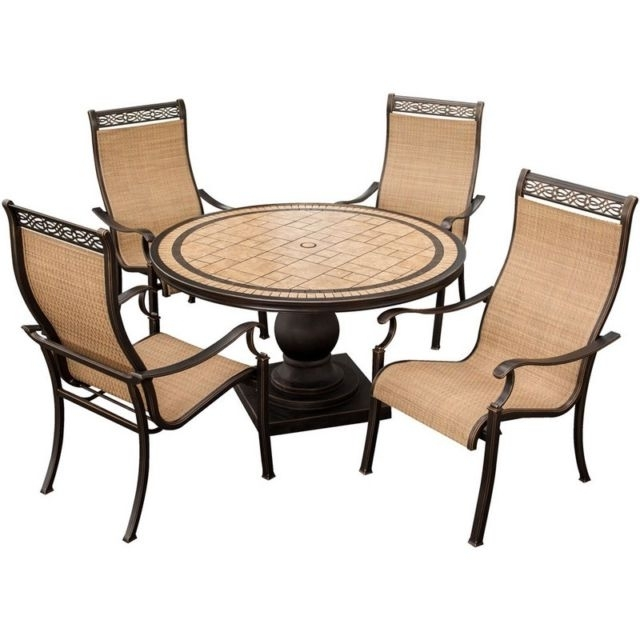 Fashionable Monaco Dining Sets For Hanover Monaco High Back Sling Outdoor Dining Chairs – Set Of  (View 5 of 20)