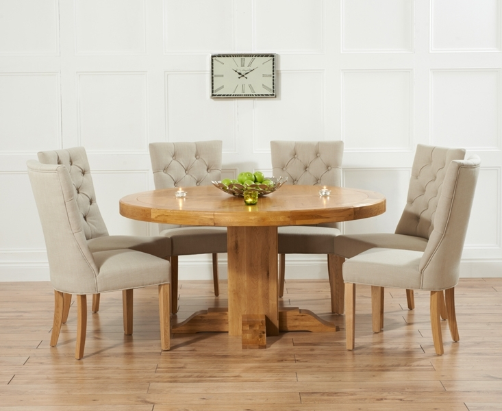 Fashionable Oak Round Dining Tables And Chairs With Torino 150Cm Solid Oak Round Pedestal Dining Table With Anais Fabric (View 3 of 20)