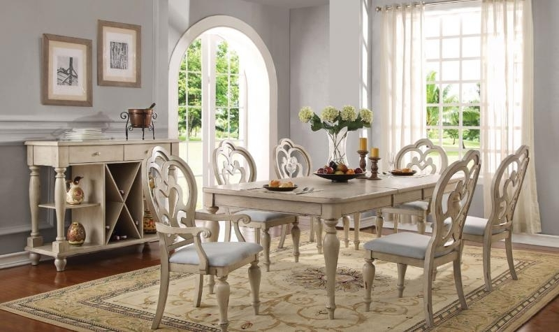 Fashionable Provence Dining Tables In Acme 66060 Abelin Provence Antique White Dining Table Set 7pcs (View 17 of 20)