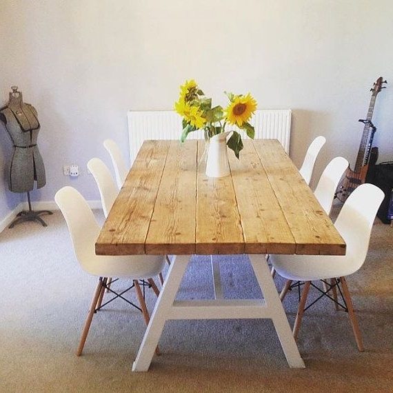 Fashionable Reclaimed Industrial Chic A Frame 6 8 Seater Solid Wood & Metal With Dining Tables With 8 Seater (View 7 of 20)