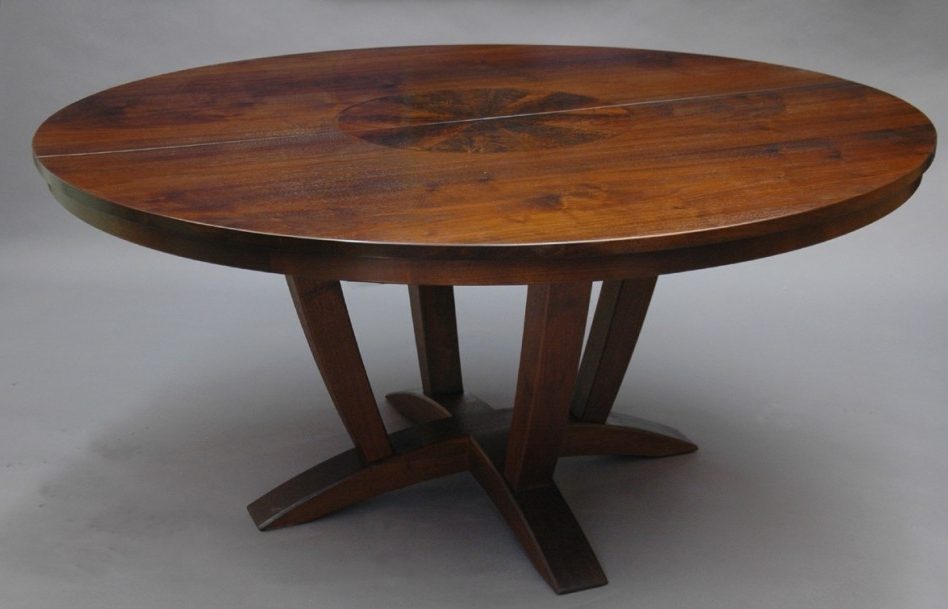 Fashionable Round Extendable Dining Tables With Dining Table: Gorgeous Picture Of Aged Solid Cherry Wood Pedestal (View 2 of 20)