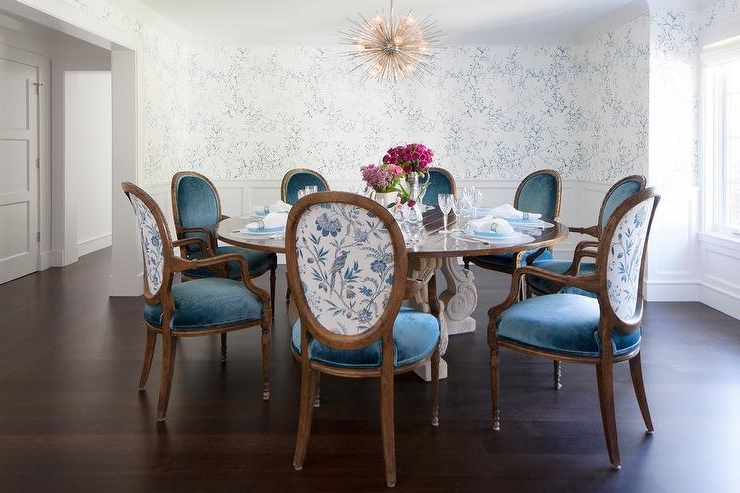Fashionable Round French Dining Table With Blue Velvet Oval Back Dining Chairs In Blue Dining Tables (View 10 of 20)