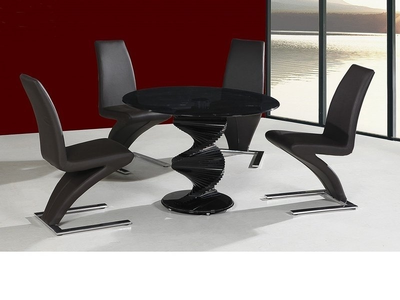 Fashionable Round Twirl Glass Dining Table And 4 Chairs In Black – Homegenies Throughout Round Black Glass Dining Tables And Chairs (View 2 of 20)