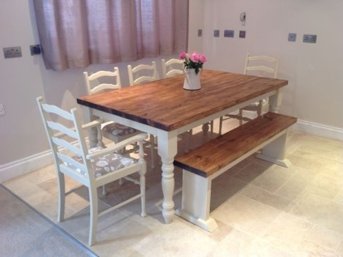 Fashionable Shabby Chic Rustic Farmhouse Solid 8 Seater Dining Table Bench And 6 With Regard To 8 Seater Oak Dining Tables (View 11 of 20)
