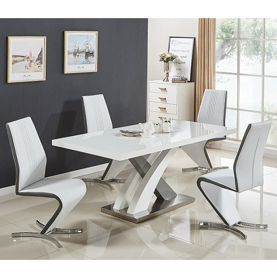 Fashionable Small White Extending Dining Tables Within Axara Extendable Dining Set Small White Grey Gloss 4 Gia (View 5 of 20)