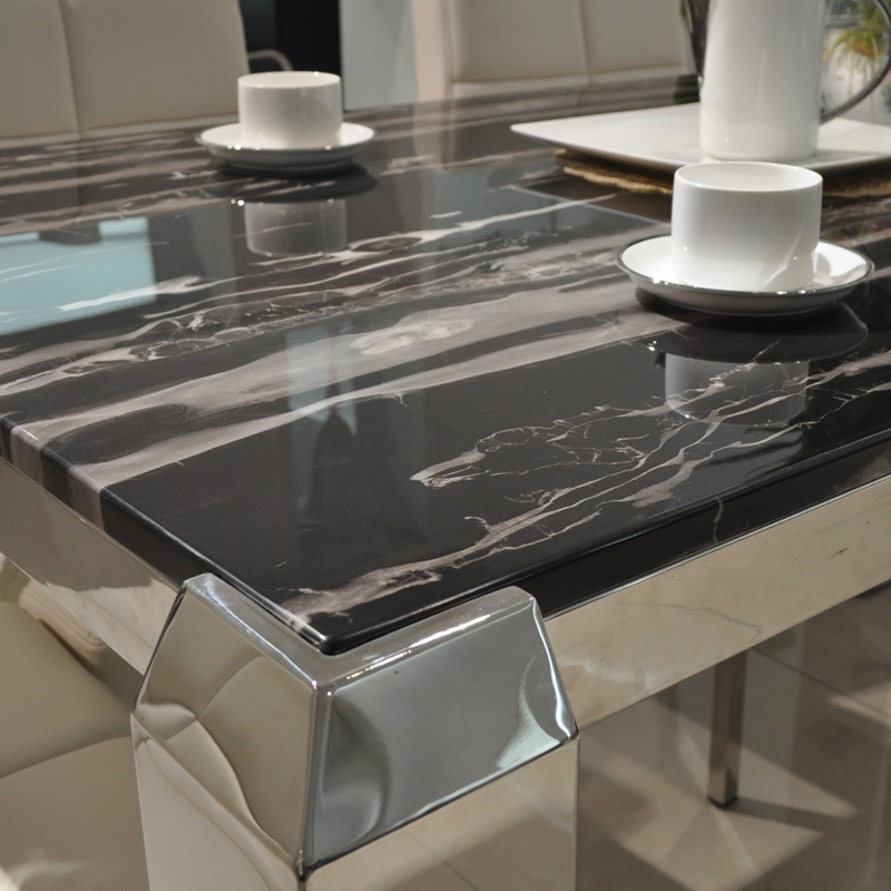 Fashionable Solid Marble Dining Tables Throughout Mobo Si Simple White Marble Dining Table Stainless Steel Dragon Foot (View 3 of 20)