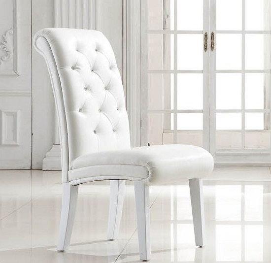 Fashionable White Leather Dining Room Chairs Imposing Stella Studded Faux Chair With White Leather Dining Room Chairs (View 3 of 20)