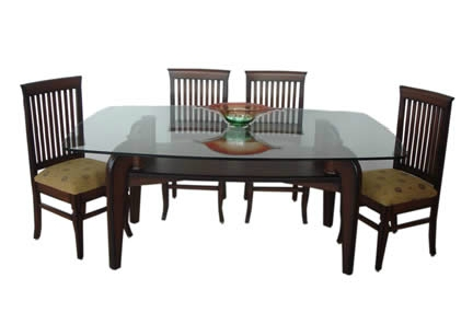 Fashionable Wood Glass Dining Tables With Regard To Square Dining Table Teak Wood Glass Top At Rs 24390 /piece (View 7 of 20)