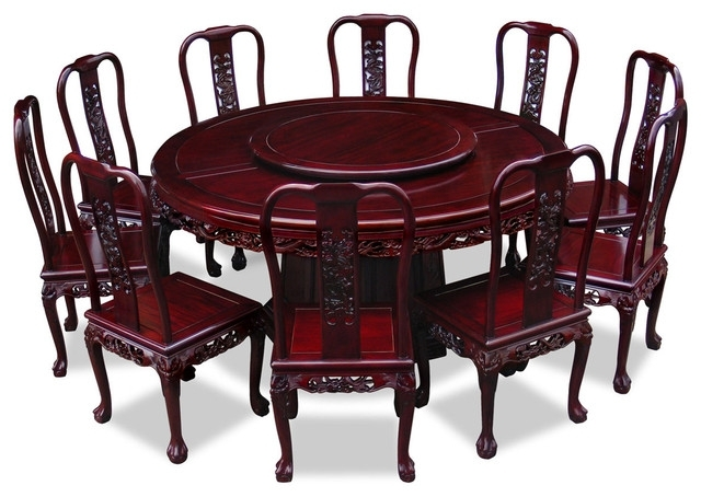"Favorite 66"" Rosewood Imperial Dragon Design Round Dining Table With 10 Pertaining To Imperial Dining Tables (View 5 of 20)"
