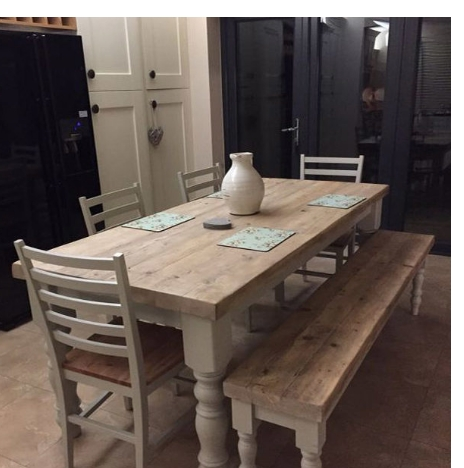 Favorite 8 Seater White Dining Tables Throughout Antique Solid Wood Stylish 6 8 Seater Dining Table, White Dining (View 7 of 20)