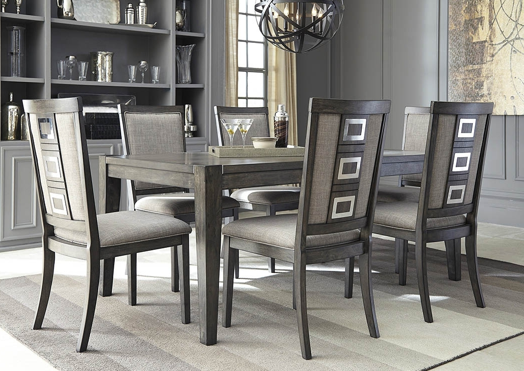 Favorite All Star Furniture Chadoni Gray Rectangular Dining Room Extension Pertaining To Craftsman 7 Piece Rectangle Extension Dining Sets With Uph Side Chairs (View 12 of 20)