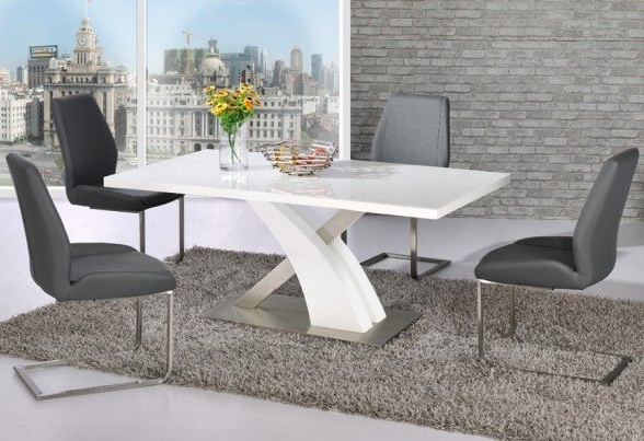Favorite Avici Y Shaped High Gloss White Dining Table And 6 Dining Inside White Gloss Dining Chairs (View 7 of 20)